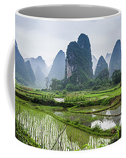 The Beautiful Karst Rural Scenery In Spring Coffee Mug