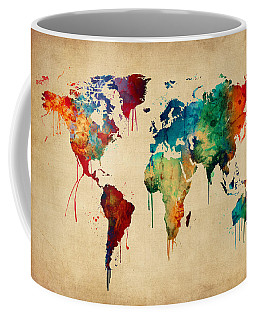 Watercolor Map Of The World Map Coffee Mug