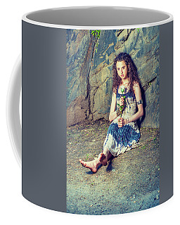 Young American Woman Missing You With White Rose In New York Coffee Mug