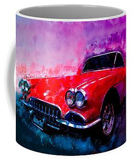 60 Red Corvette Watercolour Illustration Coffee Mug