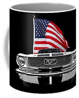 66 Mustang With U.s. Flag On Black Coffee Mug