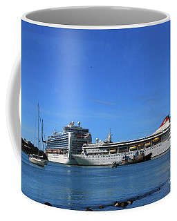 Coffee Mug featuring the photograph Cruise Ship In Port by Gary Wonning
