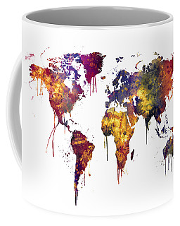 Watercolor Map Of The World Map Coffee Mug by Michael Tompsett