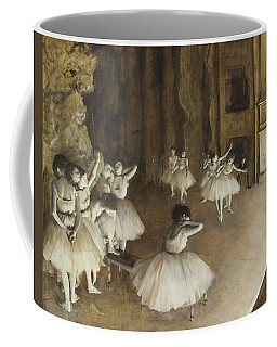 Coffee Mug featuring the painting Ballet Rehearsal On Stage by Edgar Degas