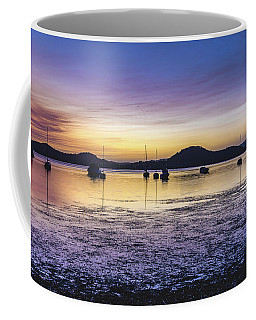 Dawn Waterscape Over The Bay With Boats Coffee Mug