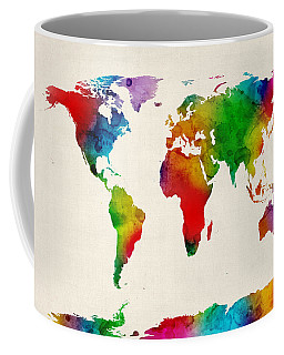 Coffee Mug featuring the digital art Watercolor Map Of The World Map by Michael Tompsett