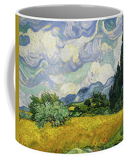 Coffee Mug featuring the painting Wheat Field With Cypresses by Vincent van Gogh