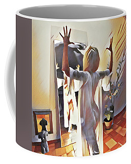 9906s-dm Woman Confronts Herself In Mirror Coffee Mug