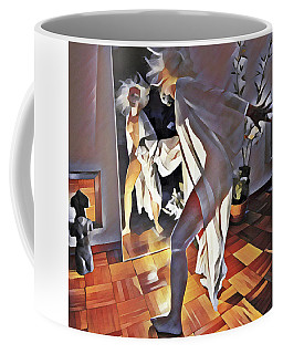 9926s-dm Watercolor Woman In White Confronts Herself In Mirror Coffee Mug by Chris Maher