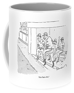 A Baseball Player Leans Out Of The Dugout Coffee Mug