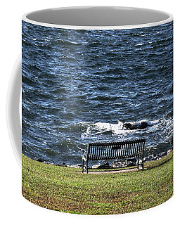 Coffee Mug featuring the photograph A Bench By The Sea by Tom Prendergast