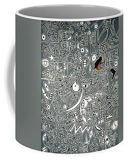 Coffee Mug featuring the painting A Bird's Chinese Vision by Fei A