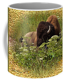 A Bison At Rest Coffee Mug by Kae Cheatham
