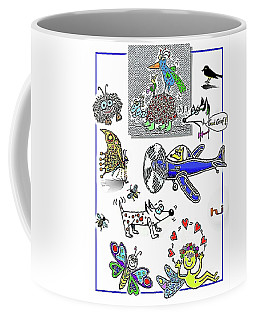 Coffee Mug featuring the drawing A Bit Of Fun . . . by Hartmut Jager