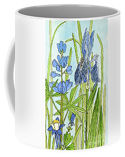 Coffee Mug featuring the painting A Blue Garden by Laurie Rohner