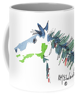 A Blue Roan Horse Watercolor Painting By Kmcelwaine Coffee Mug