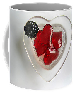 Coffee Mug featuring the photograph A Bowl Of Hearts And A Blackberry by Ausra Huntington nee Paulauskaite
