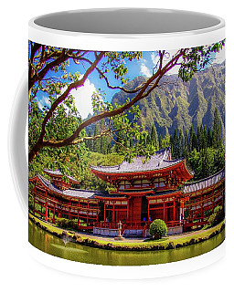 Coffee Mug featuring the photograph Buddhist Temple - Oahu, Hawaii - by D Davila