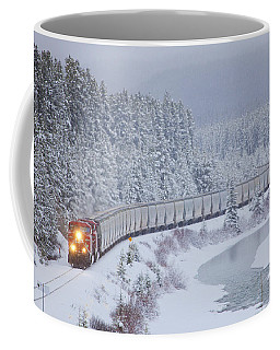A Canadian Pacific Train Travels Along Coffee Mug