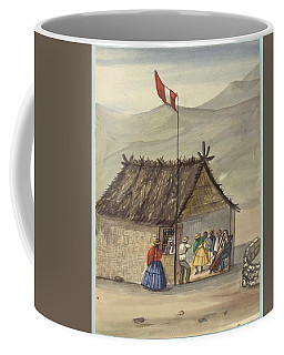 Coffee Mug featuring the painting A Cane Rancho Or Hut Erected For The Purpose Of Dancing Lima Costumes, Ca. 1853 ,fierro, Pancho,  by Artistic Panda