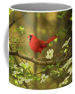Coffee Mug featuring the photograph A Cardinal And His Dogwood by Darren Fisher