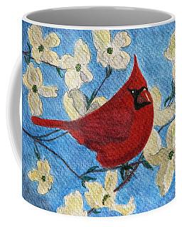 Coffee Mug featuring the painting A Cardinal Spring by Angela Davies
