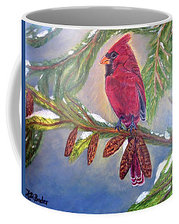A Cardinal's Sweet And Savory Song Of Winter Thawing Painting Coffee Mug by Kimberlee Baxter