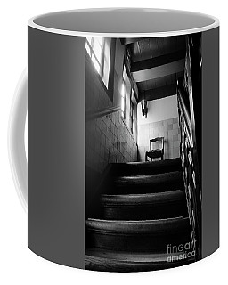 A Chair At The Top Of The Stairway Bw Coffee Mug by RicardMN Photography