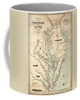 Coffee Mug featuring the painting A Chart Of The Chesapeake And Delaware Bays 1862 by Celestial Images