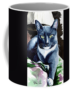 Coffee Mug featuring the painting A Classy Blue Tuxedo - Cat Portrait by Dora Hathazi Mendes