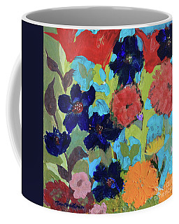 Coffee Mug featuring the painting A Dandelion Weed Making It's Way In The Garden by Robin Maria Pedrero