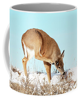 A Deer Playing In Snow Coffee Mug
