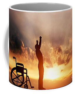 A Disabled Man Standing Up From Wheelchair Coffee Mug