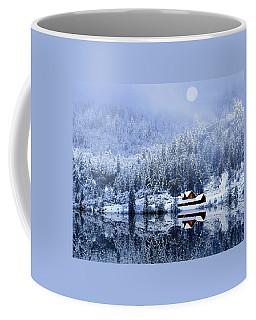 Coffee Mug featuring the photograph A Foggy Winter Night by Diane Schuster