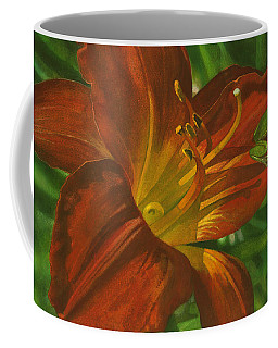 Coffee Mug featuring the painting A Frog On A Lily by John Dyess