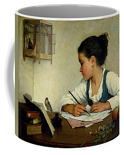 Coffee Mug featuring the painting A Girl Writing. The Pet Goldfinch by Henriette Browne