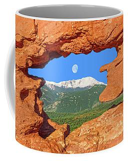 A Glimpse Of The Mighty Rockies Through A Rocky Window  Coffee Mug