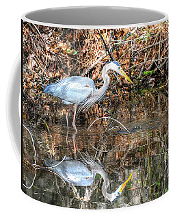 A Great Blue In The Mirror Coffee Mug