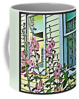 Coffee Mug featuring the digital art A Holly Hocks Morning by Mindy Newman