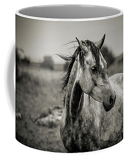 A Horse In Profile In Black And White Coffee Mug