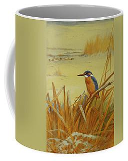 A Kingfisher Amongst Reeds In Winter Coffee Mug