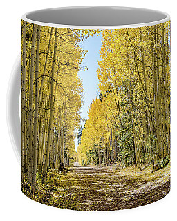 Coffee Mug featuring the photograph A Lane Of Gold by Gaelyn Olmsted