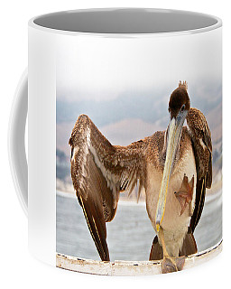 A Leg Up, Brown Pelican Coffee Mug