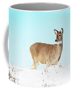 A Lonley Deer In Snow Coffee Mug