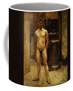 Coffee Mug featuring the painting A Male Model Standing Before A Stove John Singer Sargent by Artistic Panda