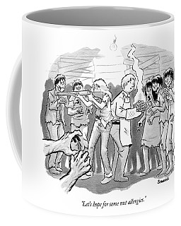 A Man And A Woman Stand In The Middle Of A Horde Coffee Mug