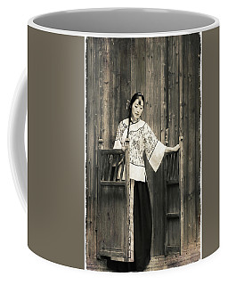 A Model In A Period Costume. Coffee Mug