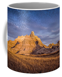 Coffee Mug featuring the photograph A Morning Badlands Peak by Rikk Flohr