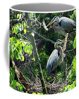 A Nesting Pair Of Great Blue Herons Coffee Mug