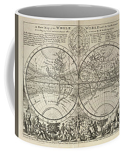 A New Map Of The Whole World With Trade Winds Herman Moll 1732 Coffee Mug
